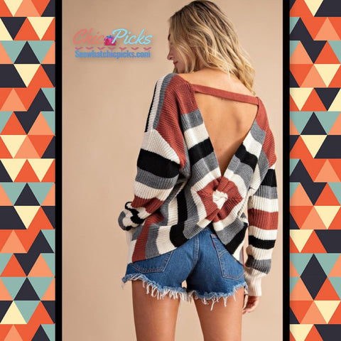 "Lette-""behind your back""-Twist Back Rust Striped Sweater-Chic Picks"