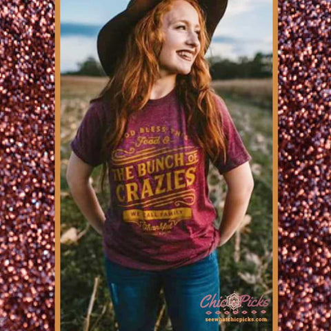 Southern Bliss Company Bunch of Crazies Maroon Short Sleeve Tee at chic picks