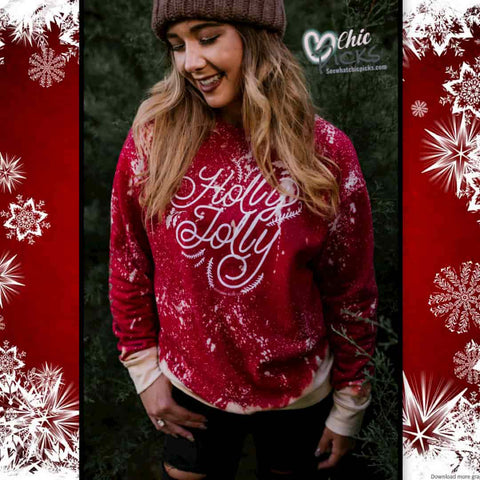 Southern Bliss Company Holly Jolly Red Bleached Sweatshirt Women's Holiday Winter Fashion At chic Picks Boutique