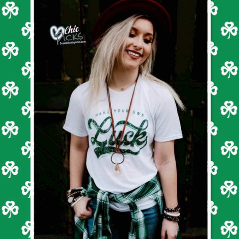 Southern Bliss Company White Short Sleeve Make your own luck Graphic Tee women's St Patrick's Day Holiday graphic T-shirts at chic Picks Boutique
