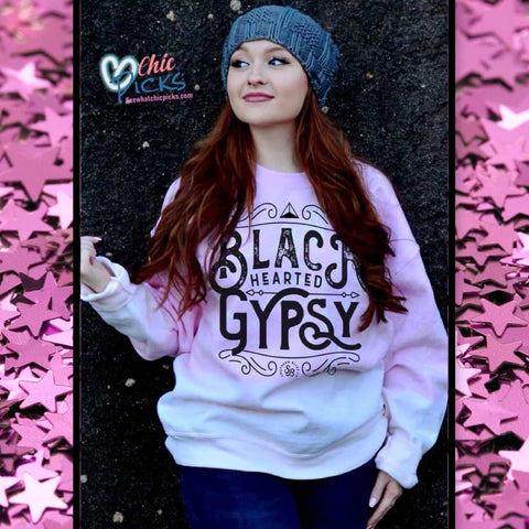 Southern Bliss Company Pink Bleached Black Hearted Gypsy Pullover Sweatshirt women's fashion tops at chic Picks Boutique