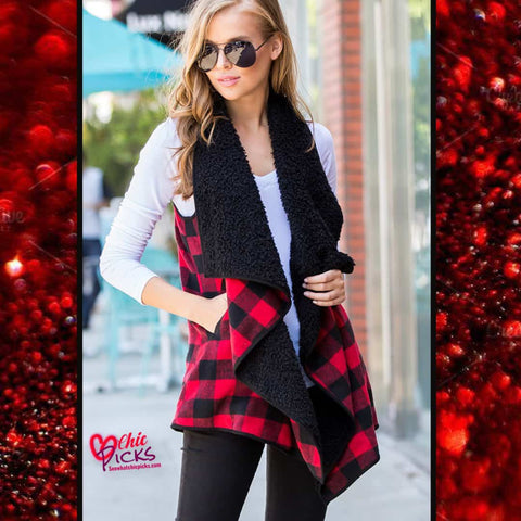 Sweet Lovely Red Buffalo Check Plaid Open Waterfall Vest At Chic Picks