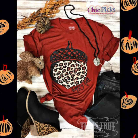 Texas True Threads Happy Fall Leopard Acorn Brick Bella Canvas Tee Top women's Fall Fashion Short Sleeve Graphic T-shirts Chic Picks