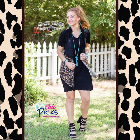 Crazy Train Wild Wild Vest Leopard and Black Lace Vest At Chic Picks
