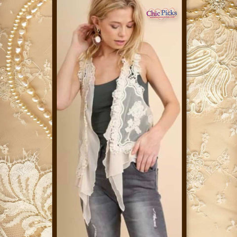 Umgee Cream Crochet Open Waterfall Vest At Chic Picks