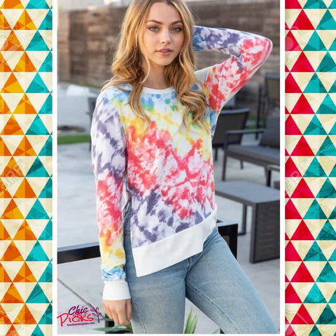 White Birch Tie Dye Hi-Lo Long Sleeve Pullover women's fashion Tops at chic Picks Boutique