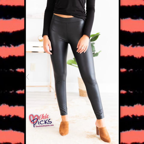 White Birch faux leather leggings at chic picks