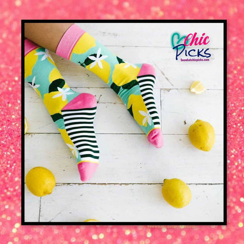 Woven Pear Pattern Crew Socks Pink Lemonade Women's Fashion Socks At Chic Picks Boutique