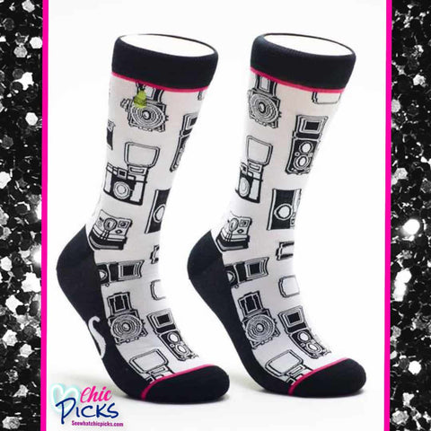 Woven Pear Oh Snap Camera Pattern Crew Socks Women's Fashion Apparel At Chic Picks