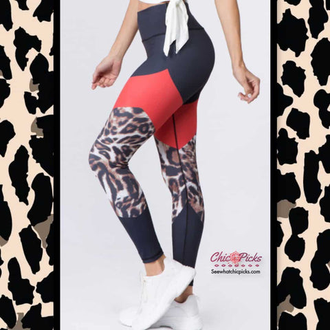 Yelete-Color Block Leggings-Animal print leopard red-Chic Picks