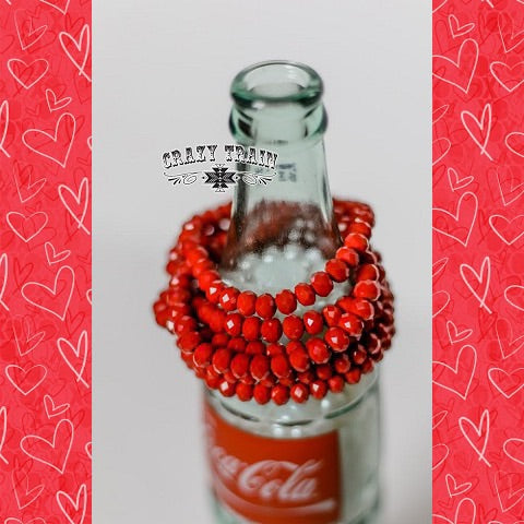 "Crazy Train Beaded Stretch Bracelet ""Crimson"" Mix and Match Buy 2 Get 1 Free at Chic Picks"