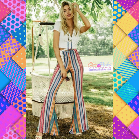 "Judith March-""Peruvian Party Pants""-Bell Multi Pattern Flare Pants-Chic Picks"