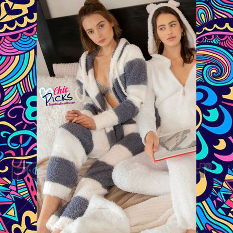 Pol Berber Fleece Striped Lounge Cozywear Fleece Pants Fuzzy Wuzzy Women's Sleep Pajama Lounge Pants At Chic Picks Boutique