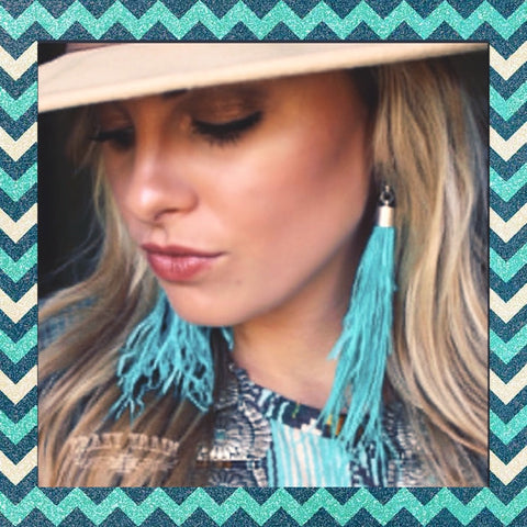 "Crazy Trains Turquoise Feather Dangle Earring-""Shake Your Tailfeather"" Feather Earrings-Earrings-Chic Picks"