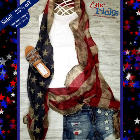 "Rustic American Flag Open Waterfall Kimono Vest with Handkerchief Hem-""American Woman""-Kimono Vest-Chic Picks"