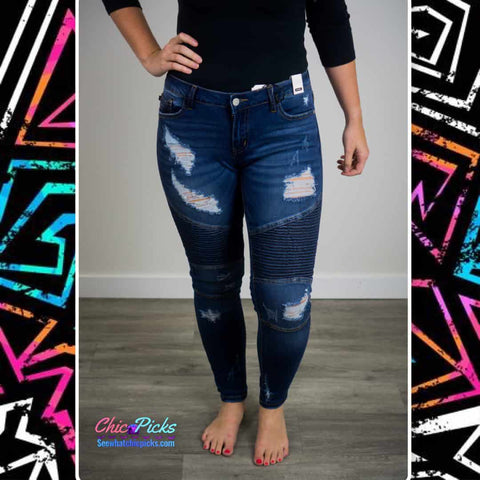 "Judy Blue-""Judy Blue Jean Baby""-Moto Distressed Ankle Skinny Dark wash Denim 