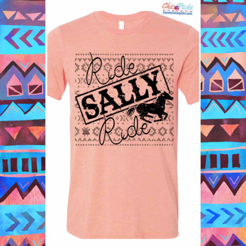 """Ride Sally Ride""-Short Sleeve Graphic Tee-Chic Picks"