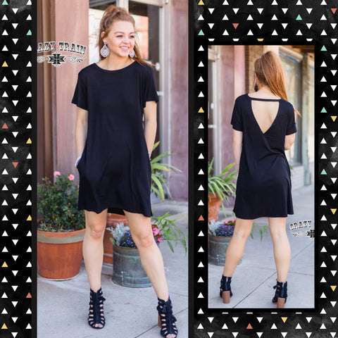 "Crazy Train Black Cut Out Back Detail Picket Dress-""Throw Back Black""-Chic Picks"