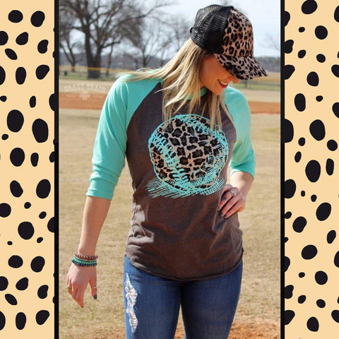 "Crazy Trains Leopard Softball/Baseball Turquoise Sleeve Baseball T-shirt Top ""Fly Ball""-Baseball Graphic Tee-Chic Picks"