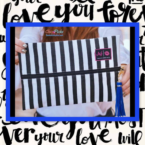 makeup junkie bags Designer waterproof black and white stripe Cosmetic flat makeup bag with middle ziller The Glam Stripe Makeup Junkie Bag at Chic Picks Boutique