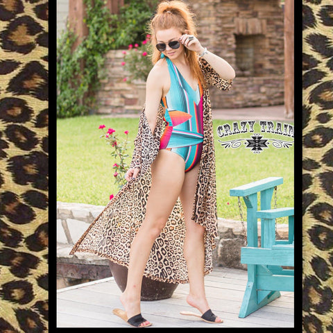 "Crazy Trains Leopard Animal Print Mesh ""Dixie Duster""-Crazy Train Duster Swim Coverup-Chic Picks"