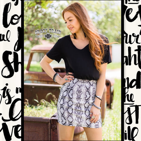 Crazy Train Clothing Ponderosa Python Snakeskin Mini Skirt Women's fashion skirts at Chic Picks boutique