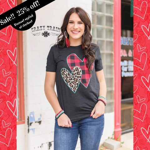 "Crazy Trains Buffalo and Leopard Hearts Short Sleeve Graphic Tee T-shirt Top-""Crazy In Love""-Short Sleeve Graphic Tee-Chic Picks"