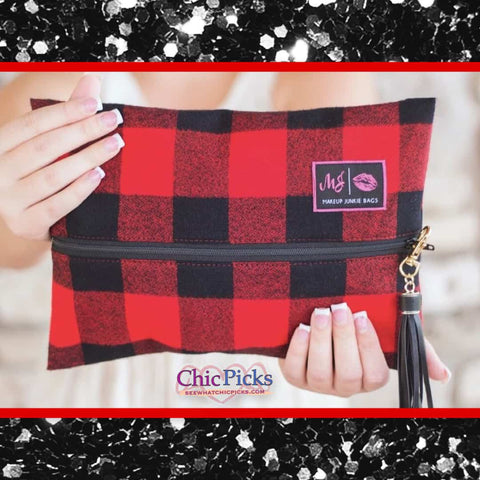 Makeup Junkie Bags Fireside Red Buffalo Plaid Cosmetic Bag Women's fashion accessories at Chic Picks Boutique