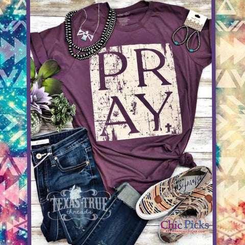 "Texas True Threads Shiraz ""Pray"" Graphic T-shirt Top-Short Sleeve Graphic Tee-Chic Picks"