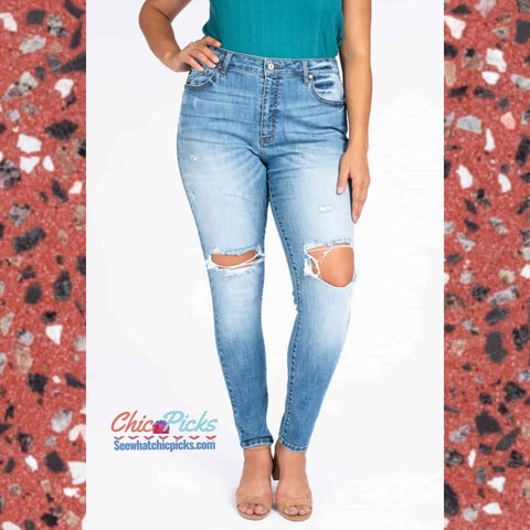 KanCan Plus Size Distressed Denim Kan Can You Keep A Secret High Rise Medium Stone Wash Skinny Jeans at Chic Picks