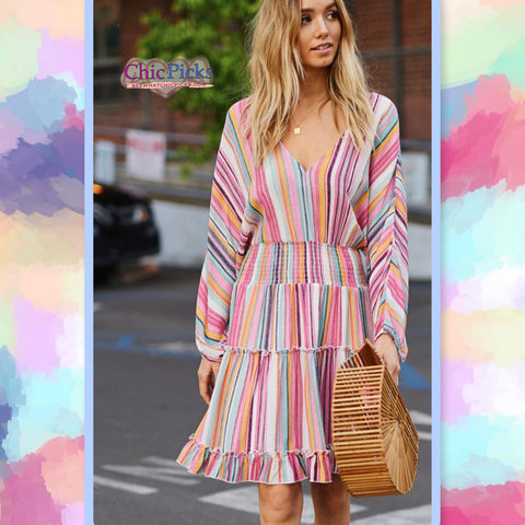 Hyped Unicorn-Colorful Striped Drop Waist Knee Length Dolman Sleeved Dress-Model Adjustment Promo-Chic Picks
