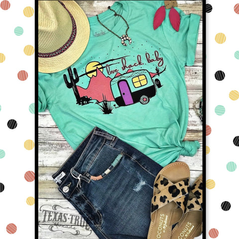 "Texas True Threads Mint Green Camper Graphic T-shirt Top-""Love Shack Baby""-Short Sleeve Graphic Tee-Chic Picks"