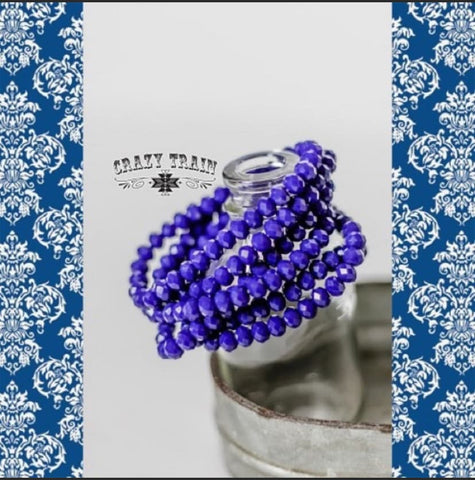 "Crazy Train Mix and Match Sparkle Beaded Stretch Bracelets ""Just For You Cobalt Blue"" Chic Picks"