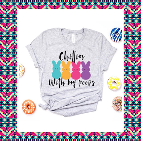 "Grey  ""Chillin With My Peeps""Short Sleeve Colorful Peeps Graphic Short Sleeve at Chic Picks"