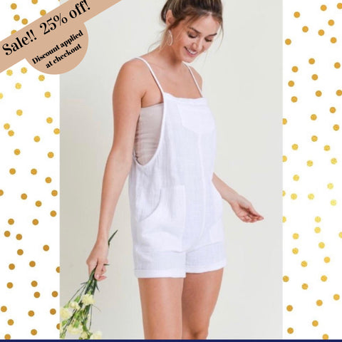 "Doe and Rae Three Pocket Overall White Romper-""Let There Be White""-Romper-Chic Picks"