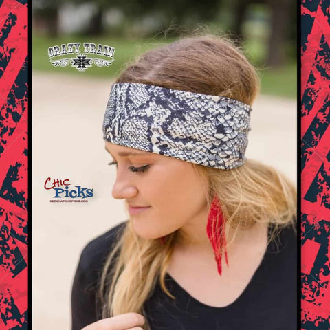 "Crazy Train ""Hissie Fit Headband"" Wide Elastic Stretch Headband in a fun snake skin python print at Chic Picks"