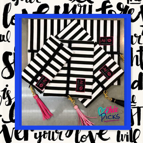 Makeup Junkie-Glam Stripe Cosmetic Makeup Bag-Black andWhite Glam Makeup-Chic Picks