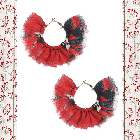 Red and Black Fabric Hoop Earrings At Chic Picks
