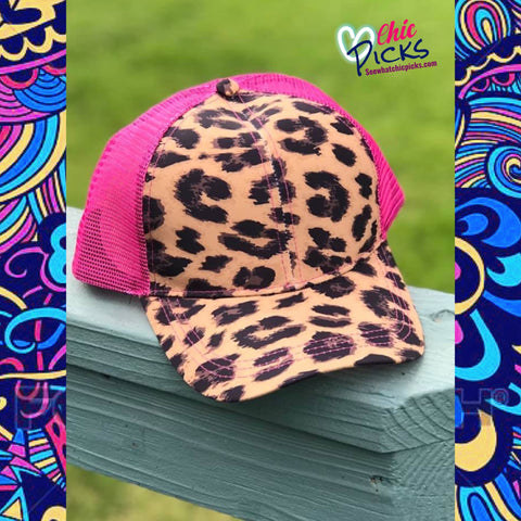 Crazy Train Clothing Pink Mesh Cap Up in the Hair Adjustable High Pony Hat Women's Fashion Accessories At Chic  Picks boutique