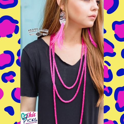 Crazy Train Pink Loopty Loo layering necklace womens fashion jewelry at Chic Picks Boutique