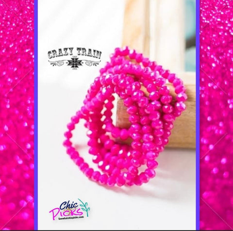 Crazy Train Clothing Beaded Stretch Bracelet Pink Barbie women's fashion jewelry and accessories at chic picks boutique