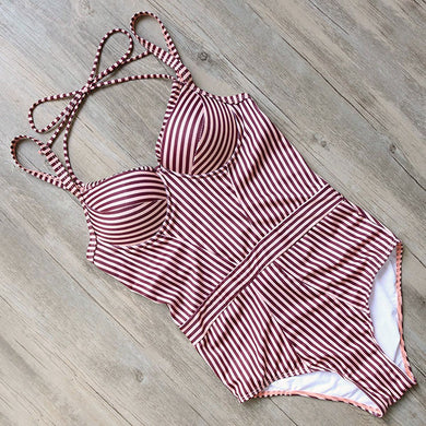 One Piece Stripe Swimsuit
