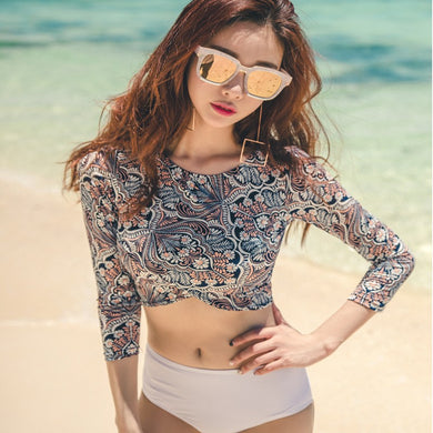 Summer Spring Long Sleeve Bikini Crop Tops Bikinis Set
