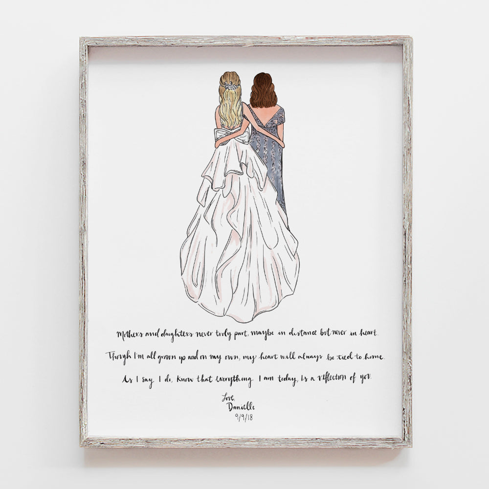 CUSTOM MOTHER OF THE BRIDE GIFT FROM DAUGHTER AND BRIDE TO MOM. ILLUSTRATION BY JESMARRIED