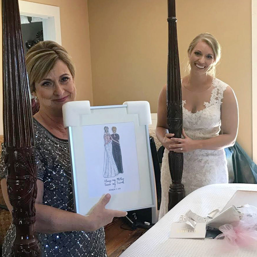 bride is giving her mom a mother of the bride drawing by JesMarried