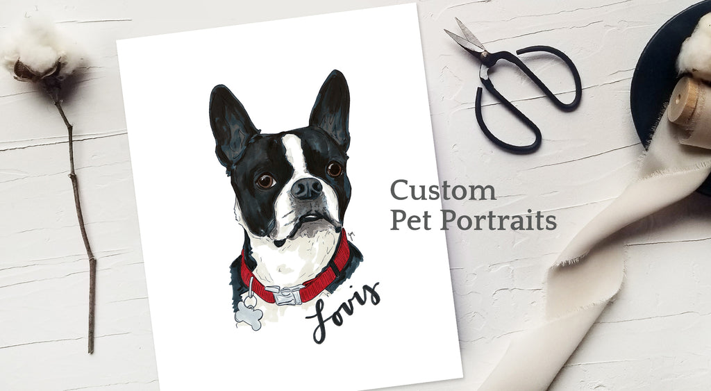 Custom pet dog or cat portrait drawings by JesMarried