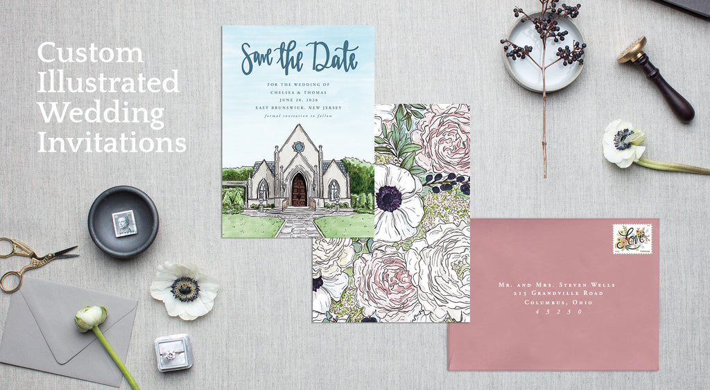 CUSTOM VENUE SAVE THE DATE WITH ANEMONE FLORAL BACKER AND ROSE ENVELOPE FROM JESMARRIED