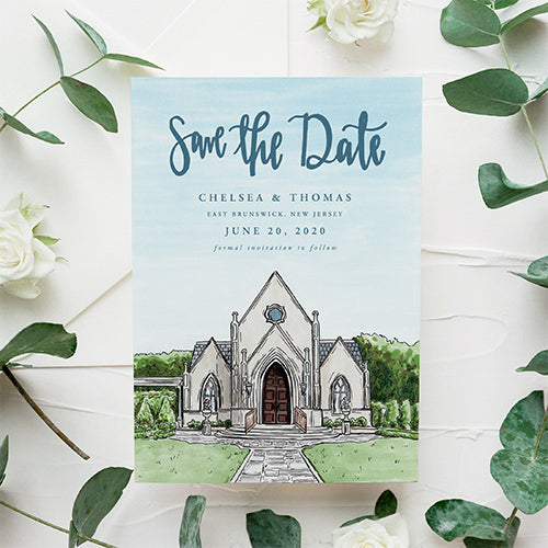 CUSTOM WEDDING INVITATIONS AND SAVE THE DATES FOR BRIDES IN COLUMBUS AND THE UNITED STATES WHO LOVE VENUE ILLUSTRATIONS BY JESMARRIED