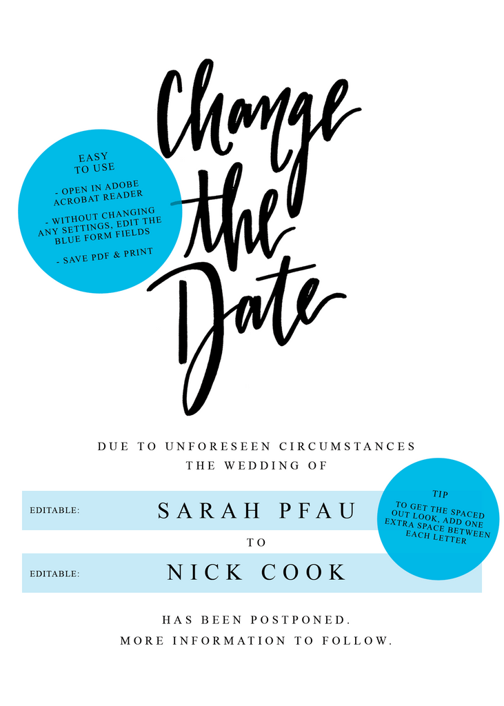 Change the Date Wedding Postponement Announcement - Digital Download