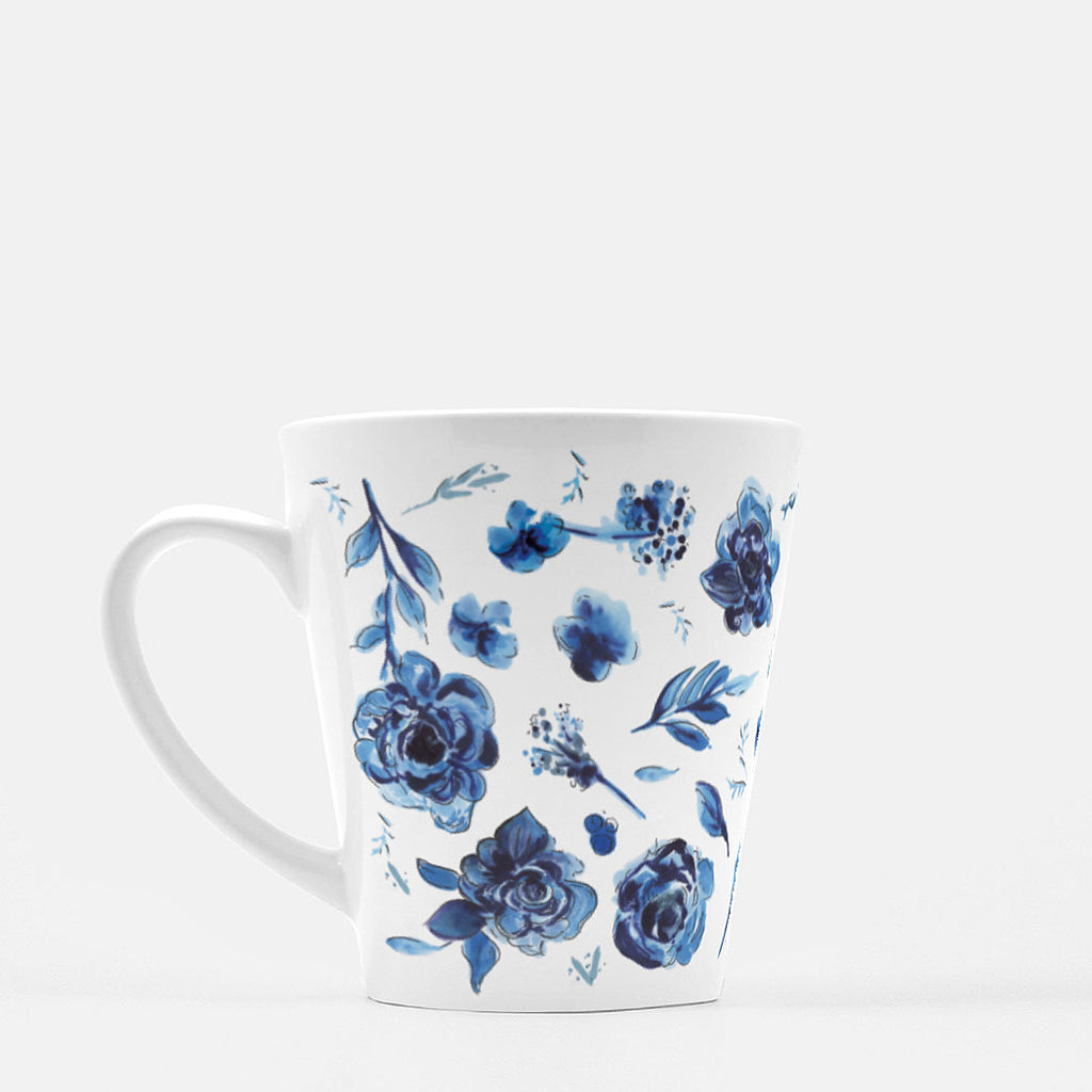Delft Blue Flower Pattern Latte Mug